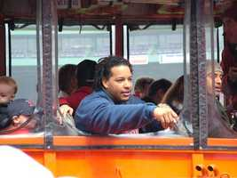 Manny Ramirez looks out a duck boat along the parade route.