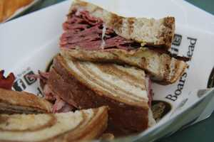 New for the World Series is a Hot Spicy Pastrami Sandwich. It comes with Swiss cheese and spicy mustard on marble rye.
