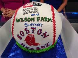 The cake is designed by the farm's pastry chef and is a replica of a baseball.