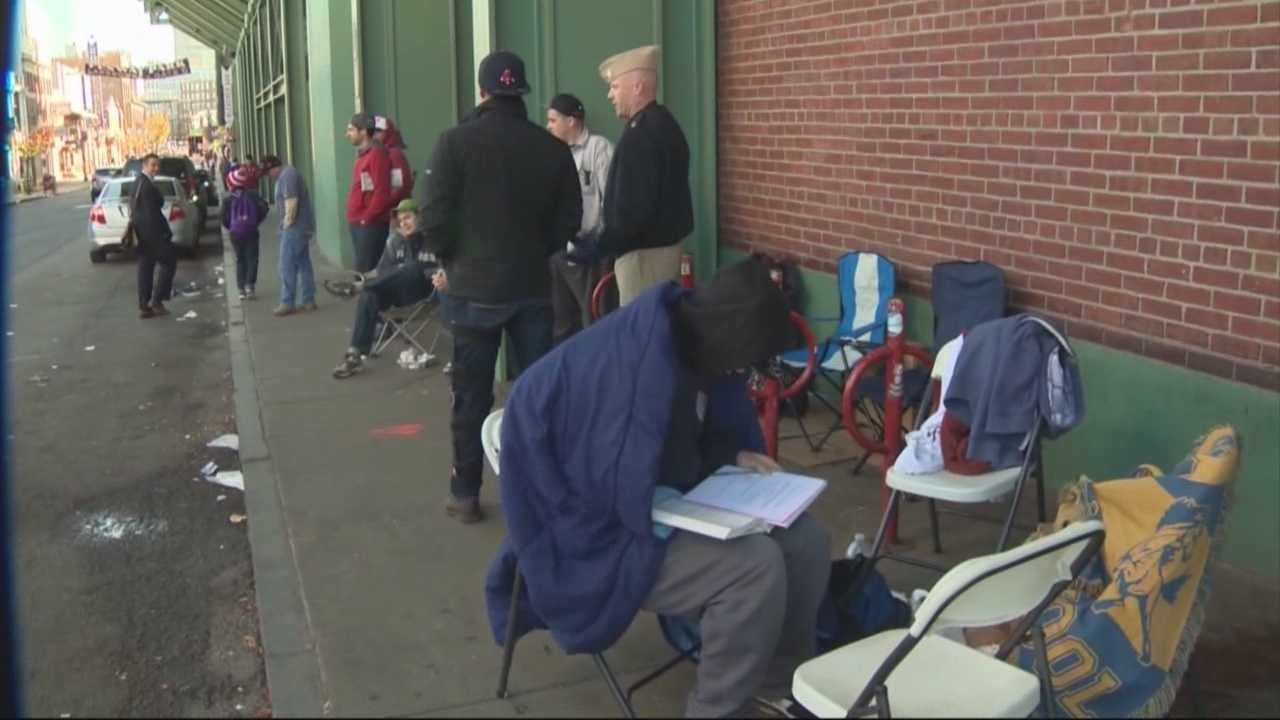 Sox fans camp out for game day World Series tickets