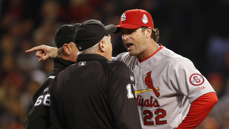 Cardinal argue umpire call 102413