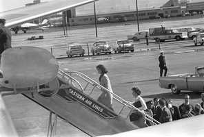 First Lady Jacqueline Kennedy boarding Air Force One at Love Field, Dallas, Texas.
