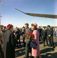 President and Mrs. Kennedy arrive at Love Field in Dallas, Texas, 22 November 1963.