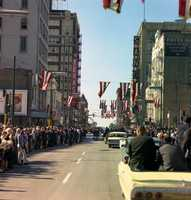 View from President Kennedy's motorcade through Dallas, Texas, 22 November 1963.