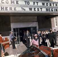 President John F. Kennedy and First Lady Jacqueline Kennedy exit the Hotel Texas after the Fort Worth Chamber of Commerce Breakfast, Fort Worth, Texas, 22 November 1963.