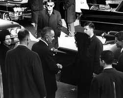 Funeral Services for President Kennedy. Mrs. Johnson, President Johnson, Mrs. Kennedy, Attorney General Robert F. Kennedy, others. Washington, DC. 25 November 1963