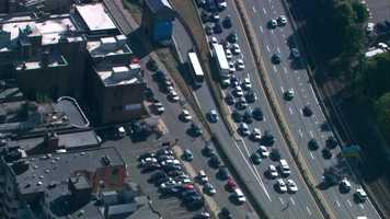 Traffic along the Massachusetts Turnpike was stopped as the team buses got on the highway.