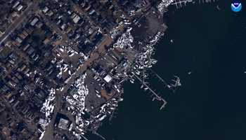 "Staten Island, New York. ""Before"" image captured by Google&#x3B; ""After"" image captured by NOAA's National Geodetic Survey."