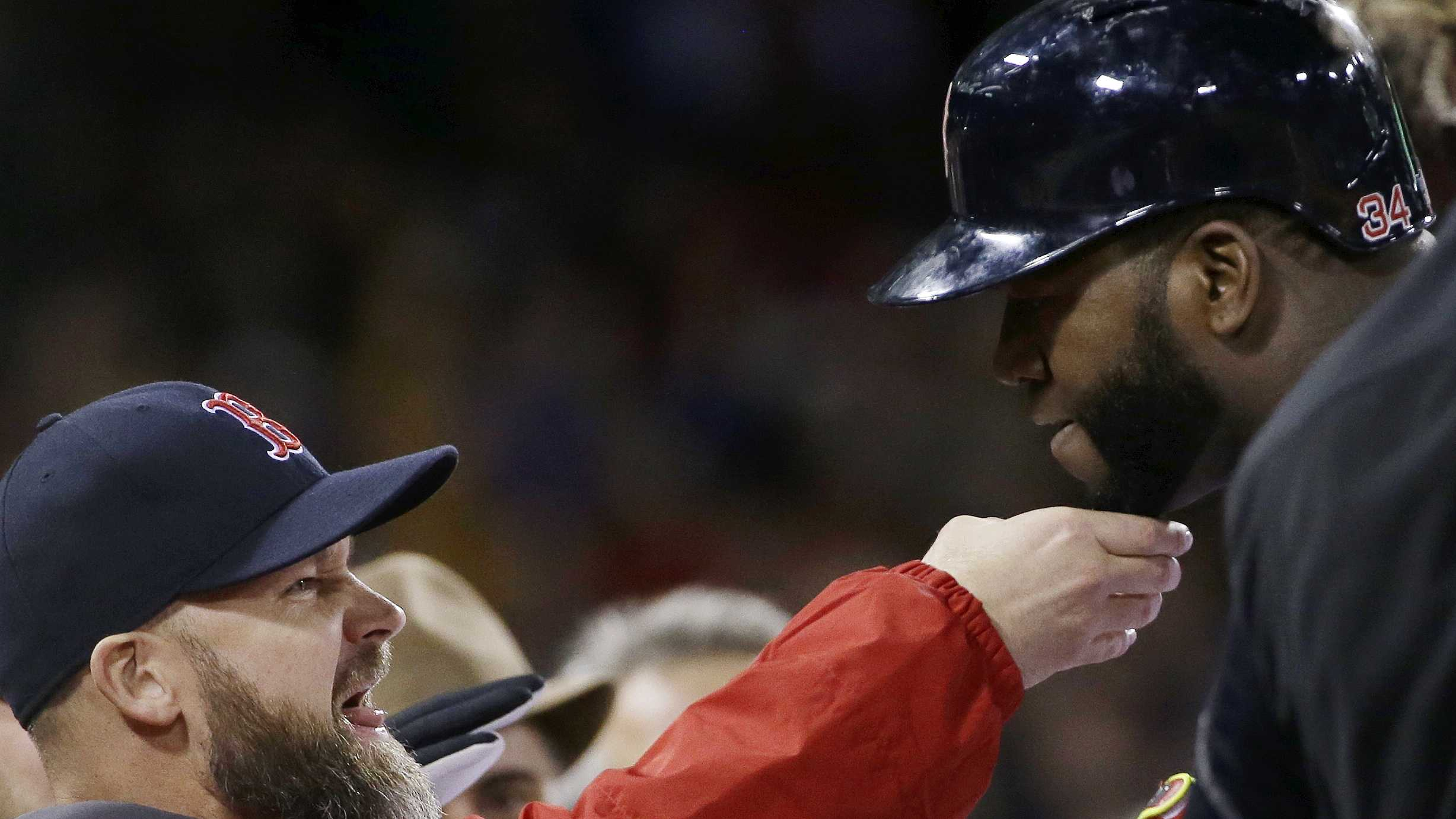 David Ross tugs Ortiz Beard 102913