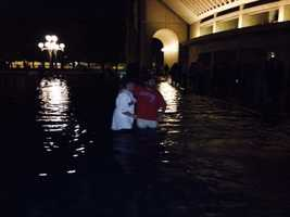 Fans took a dip in the fountain outside the Christian Science Monitor.