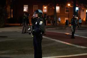 Another officer had a type of paintball gun that fires pepper balls used to disperse crowds.