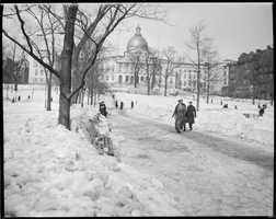 Broad path plowed leading to State House, Boston Common