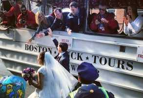 The couple eventually made their way to North Station and rode the trolleys to St. Mary's Parish in Charlestown for their 2 p.m. wedding.