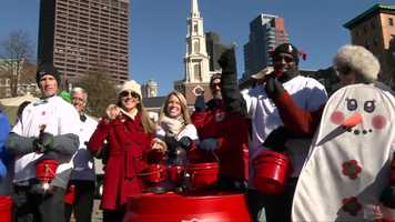 The Salvation Army held the first-ever Red Kettle Run through downtown Boston.