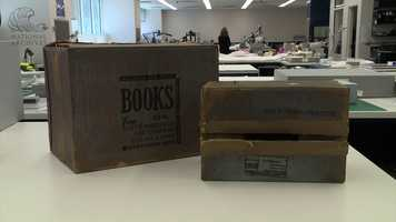 Cardboard boxes found on the sixth floor of the Texas School Book Repository, where Oswald fired the fatal shots.