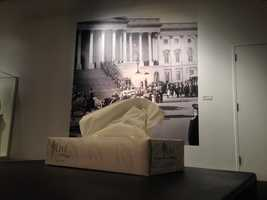 Tissues left for visitors at the JFK Library in Boston, where artifacts from his funeral are on display.