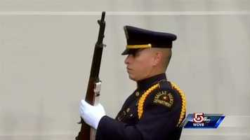 A member of the honor guard at Dealey Plaza in Dallas