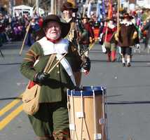 A drummer at the annual America's Hometown Thanksgiving Parade.