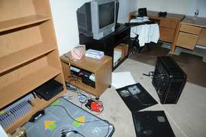 The desktop computer was found without a hard drive on the floor of the computer room.