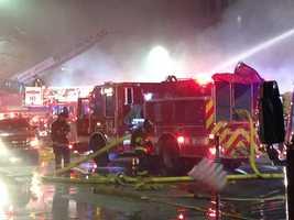Firefighters battle an early-morning blaze in Boston.