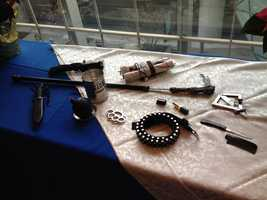 The TSA displayed confiscated items from security checkpoints at Logan Airport Thursday.