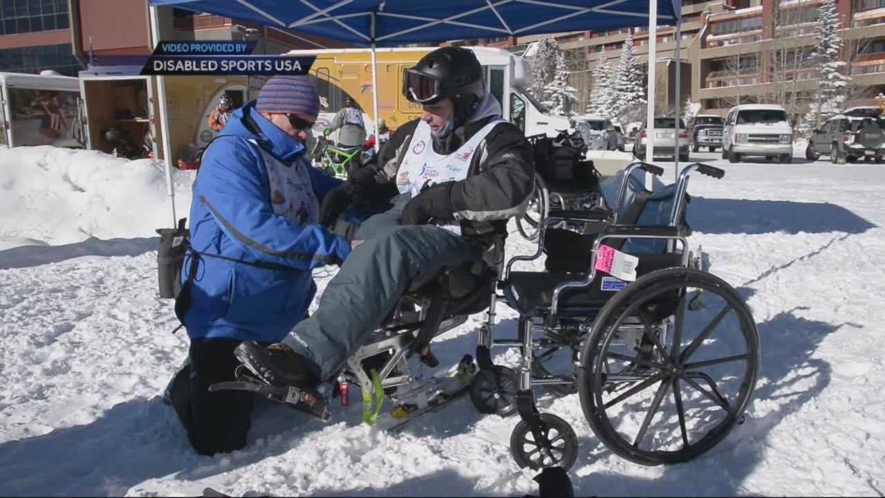 Marathon survivor who lost leg hits the slopes