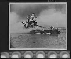 Pearl Harbor bombing. USS Nevada. Beached at Hospital Point