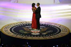 President Barack Obama and first lady Michelle Obama share a dance during the Commander-In-Chief Inaugural ball at the Washington Convention Center during the 57th Presidential Inauguration Monday, Jan. 21 in Washington.
