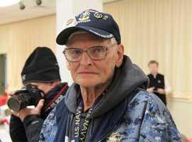 Veteran Wesley Cressey of Portland, Maine is part of the entourage.