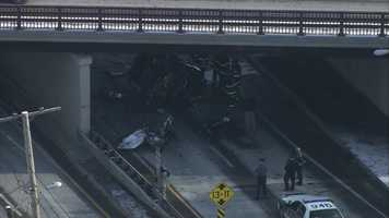 Sky 5 showed one vehicle may have fell off under the bridge.