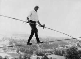 Henry's was the celebrated French tightrope walker who balanced above high the Alps, the Grand Canyon and Niagara Falls. Henry's, whose real name was Henri Rechatin, once walked along the cable that carries cable cars to the summit of the Aiguille du Midi in the Alps. He was 82.