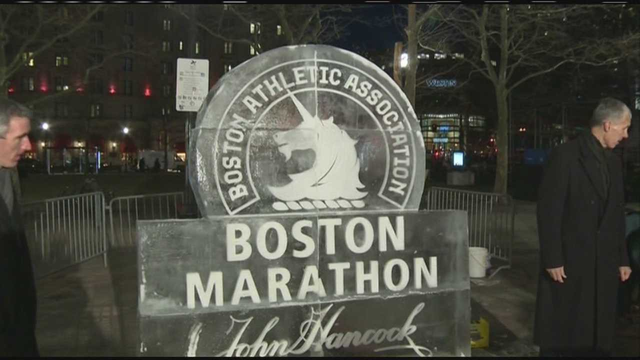 img-Boston Marathon ice sculpture unveiled ahead of First Night 2014