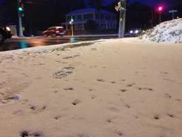 Snow sticks on an Abington sidewalk.