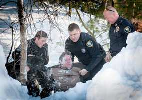 A K-9 police officer helped authorities apprehend a suspect in Cohasset on Saturday.