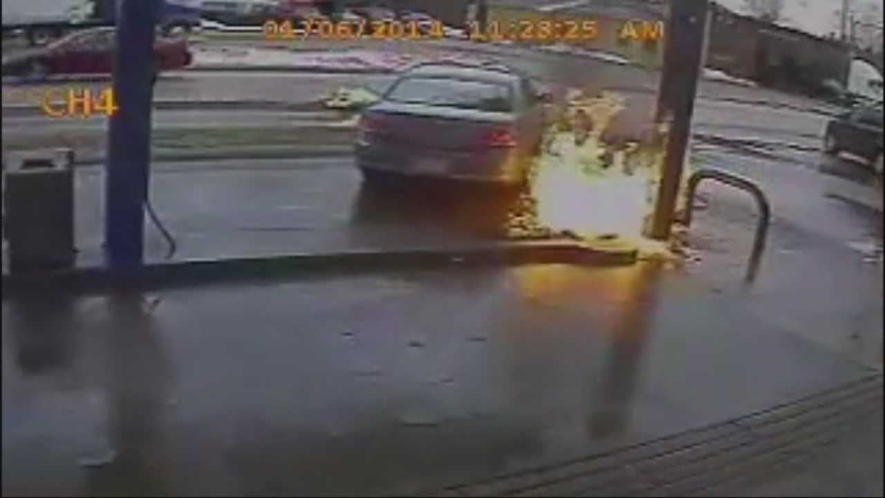 Caught on tape: Vehicle smashes into gas station pump, catches fire