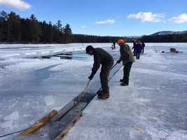 The ice will be used in iceboxes through the summer at Rockywold Deephaven Camps.
