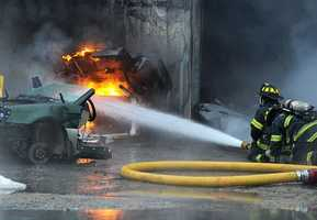 """""""The guy ran out yelling 'fire,'"""" said Nelson Oliveira of Raycon. """"We tried to help, but it just blasted across the building."""""""