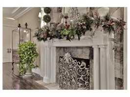 A fieldstone fireplace