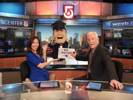 Pat Patriot, mascot of the New England Patriots, stopped by WCVB-TV on Friday.