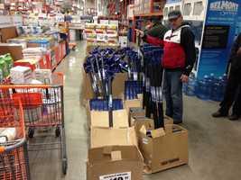 As always, shovels were a hot seller at Home Depot.