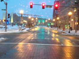 Bostonians fared better than those on the South Shore and the Cape. This is Cross Street.
