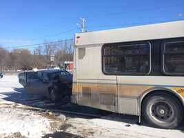 An MBTA bus was hit by a car in Randolph this morning, causing multiple injuries, police said.