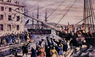 The Boston Tea Party reenactment takes place in Boston Harbor every Dec. 16.