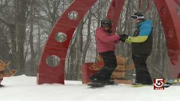 Chronicle's Shayna Seymour learns snowboarding.