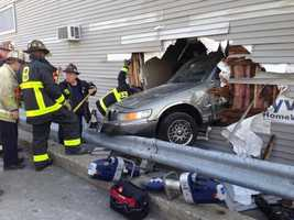 An elderly driver was taken to the hospital after he lost control of his car and crashed into a South Boston building on Saturday morning, officials said.
