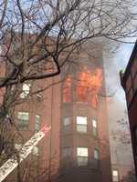 The fire on the fifth floor of the building extended to the sixth, officials said.