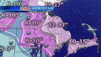 Southeastern Massachusetts also saw some of the highest snow amounts due to the ocean moisture.