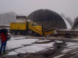 Loading trucks with salt at the Weston MassDOT depot