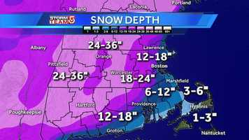 February 18: A look at the snow depth across the state of Massachusetts.