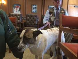 Skip Rollins and Hero, an Iraq service dog.